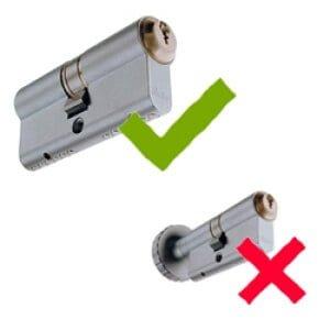 Låsecylinder med vrider og dobbelt låsecylinder uden vrider